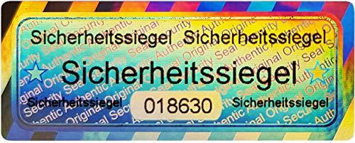 50 Stk - 3D Hologramm Sicherheits-Siegel mit Seriennummer - 50x20mm silber glänzend - Sicherheitssiegel, Qualitätssiegel Garantiesiegel Sicherheitsetiketten selbstklebendes Etikett Echtheitssiegel