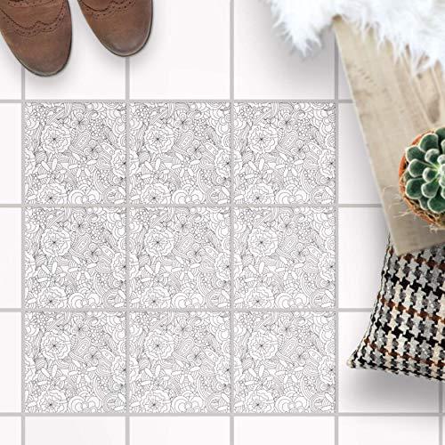 Fliesenaufkleber für - [ Boden Fliesen ] - Sticker Aufkleber Folie für Bodenfliesen - Bad oder Küche I Fliesenaufkleber als Alternative zu Fliesenfarbe I 20x20 cm - Design Creative Lines