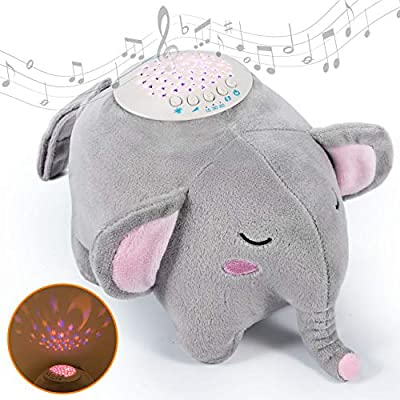 Baby Sleep Soothers, Momcozy Baby White Noise Machine, Auto-Off Timer and Volume Control Night Light Soother, 15 Lullabies Sound Machine for Newborns and Up, Elephant by Momcozy
