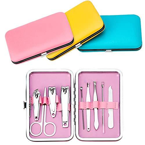 XXX 9pcs Set de manicura portátil Pedicura Tijeras Pinzas Cuchillo Ear Pick Utility Nail Clipper Kit Conjuntos de Herramientas para el Cuidado de Las uñas de Acero Inoxidable, Pink