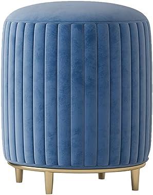 DEPLK Tabouret de vanité de Maquillage Bleu avec Pieds en métal/Tabouret de Coiffeuse Rond Moderne/canapé de ménage Tabouret