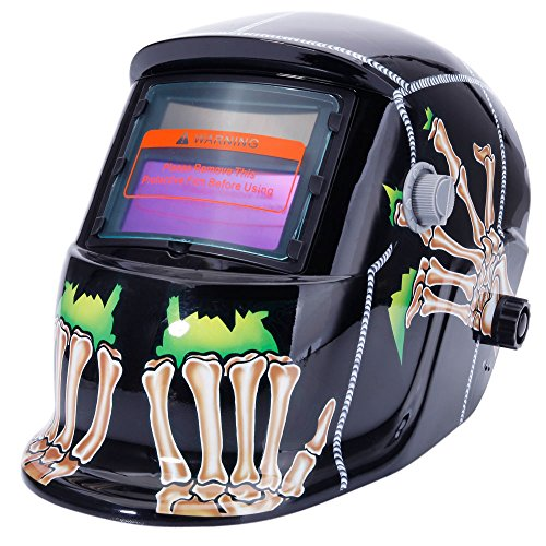 Welding Helmet Solar Powered Auto Darkening Hood with Adjustable Shade Range 4/9-13 for Mig Tig Arc Welder Mask Shield Flaming Skull Design. Buy it now for 29.00