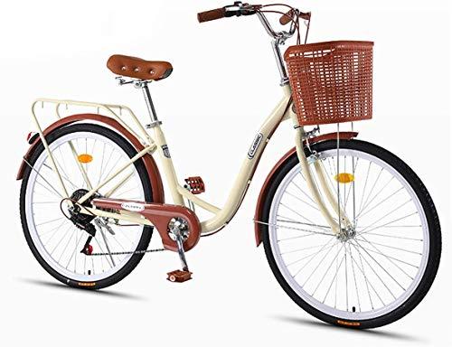 XYLUCKY Dame Urban Bike 7 Geschwindigkeit, Klassisches Fahrrad Vintages Fahrrad Freizeit Damen und Herren Fahrrad Cruiser Retro Bike Erwachsene Jugendliche Studenten,Beige,24