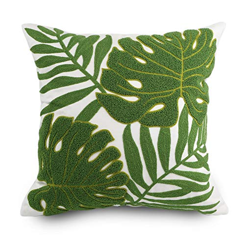 Hodeco Decorative Throw Pillow Covers 18x18 Tropical Green Leaves Embroidery Floor Pillow Cover for Couch 100% Cotton Cushion Cover Pillow Case Plant Monstera Leaf Loop Embroidered 45x45cm, 1 Piece