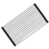 Ahyuan Roll up Dish Drying Rack Over the Sink Kitchen Roll up Sink Drying Rack Portable Dish Rack Dish Drainer Foldable SUS304 Stainless Steel Dish Drying Rack (20.5''x11.2'')