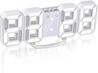 Jコートン LEDデジタル時計 3Dデザイン アラーム機能付き 置き時計 壁掛け時計 明るさ調整 日本語取扱説明書付き デジタル時計 (ホワイト)