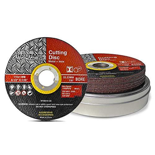 HAUTMEC Discos de corte de metal 115 mm x 1 mm x 22.23 mm 10 piezas, metal cortado, acero inoxidable, acero y metales no ferrosos, ruedas de corte para amoladora angular HT0014-CD