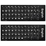 [2 Pack]Lapogy Universal English Keyboard Stickers With Black Background and White Large Lettering for Computer Laptop Notebook Desktop for dell KB216 KM636,Compatible for mk120/270/275/mx/345/550/710
