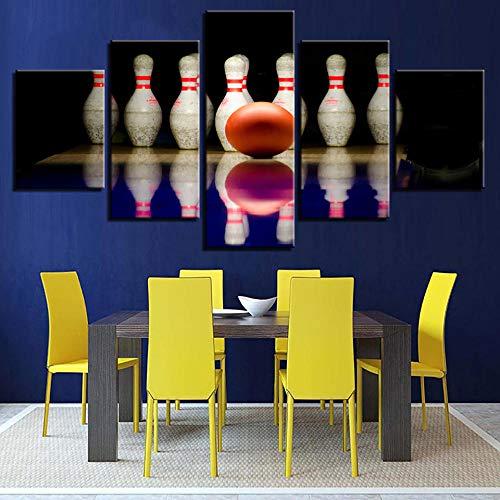 IILSZMT Art Bilder Wandbild 5 Teilig Vlies Leinwand Foto Wohnzimmer Bowlingkugel Sportlandschaft Auf Kunstdruck Modern Wohnzimmer Wanddekoration