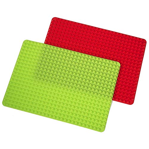 Dasing Thanksgiving Turkey Grill Mat and Dog Snack Maker Nonstick Pan Mat Healthy Cooking Set of 2 Red and Green