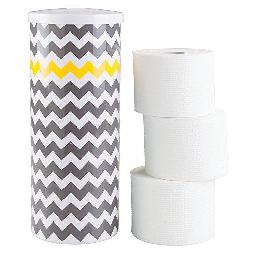 mDesign Dispensador de Papel higiénico – Decorativo portarrollos de pie – Almacenaje de baño para 3 Rollos de Papel higiénico – Sin Taladro – Dibujo de Zigzag en Blanco, Gris y Amarillo
