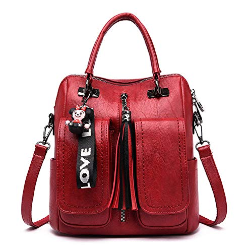 3 in 1 Women's Backpack Retro Women's Shoulder Bag Soft Leather Backpack Lady Travel Backpack