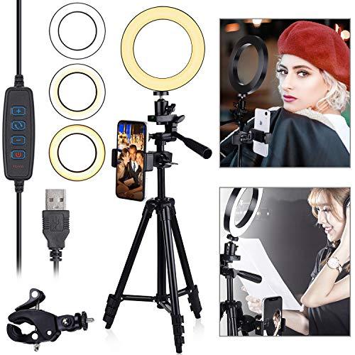"""Diyife Anillo de Luz,[Nueva Versión] 6.3""""LED Luz Anular con Trípode Soporte para Teléfono 3 Modos de Iluminación 11 Niveles de Brillo para Youtube Transmisión en Vivo Maquillaje Fotografía"""