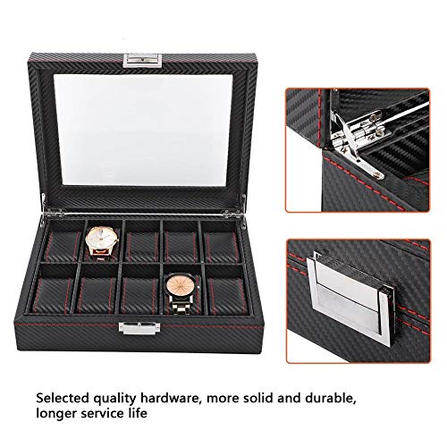 Caja de reloj de 10 ranuras, cajas de viaje, cajas y organizadoresBoxesCaja de fibra de carbono, organizador de almacenamiento de exhibición Jewelrley, estuche elegante y elegante