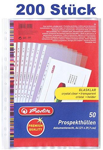 Herlitz 5850508 Prospekthülle Premium, A4 glasklar (200 Stück)