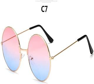 Yangjing-hl Modelos de explosión Metal Redondo Moda Lentes Marinos Gafas de Sol Rojas Moda Unisex Prince Espejo