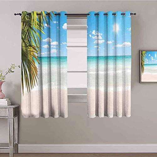 XLDYSC Kitchen Blackout Curtains Window Curtains Eyelet Thermal - Blue Sea Beach Palm Trees - 3D Print Bedroom Darkening Curtains For Living Room 170X200Cm