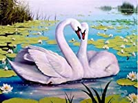 ダイヤモンドの絵画 フルスクエアラウンドダイヤモンド絵画白鳥クロスステッチダイヤモンド刺繡動物ラインストーン写真手工芸品