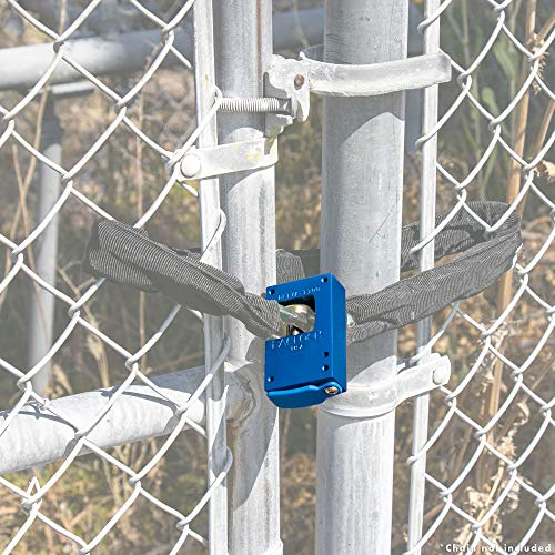 PACLOCK's BL17A-1100 Block-Lock Series (Shutter Lock), Buy American Act Compliant, Blue Anodized Alum, High Security 6-Pin Cylinder, One Lock Keyed to #26537 w/ 2 Keys, Hidden Shackle