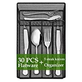 Silverware Set, 30-Piece Silverware Set with Organizer Tray for 5,...