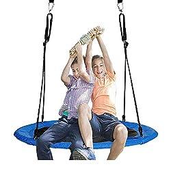 Jolitac 120cm Nestschaukel Tellerschaukel Garten-Schaukel Kinderschaukel für Kinder und Erwachsene (120 cm)