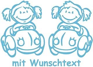 25 cm XL Babyaufkleber f/ür Zwillinge mit Wunschtext Motiv Z5-MM
