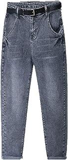 N\P De Gran Tamaño Jeans De Las Mujeres De La Vendimia Gris Oscuro De Las Mujeres Más El
