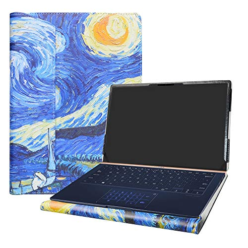 """Alapmk Specialmente Progettato PU Custodia Protettiva in Pelle per 14"""" ASUS ZenBook 14 UX433FN Series Laptop(Non compatibili con: ASUS ZenBook UX430UA UX410UA UX431FA),Starry Night"""