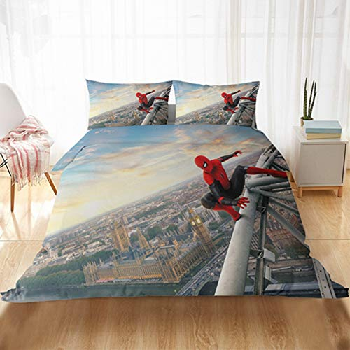 SSIN Spiderman Duvet Cover Spiderman Child Bedding Set Microfibre with Duvet Cover and Pillowcase 3D Digital Print Children, 08, 220x260cm