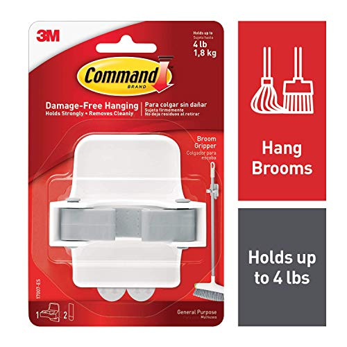 Command Broom Gripper, White with Grey Band, 3 Grippers
