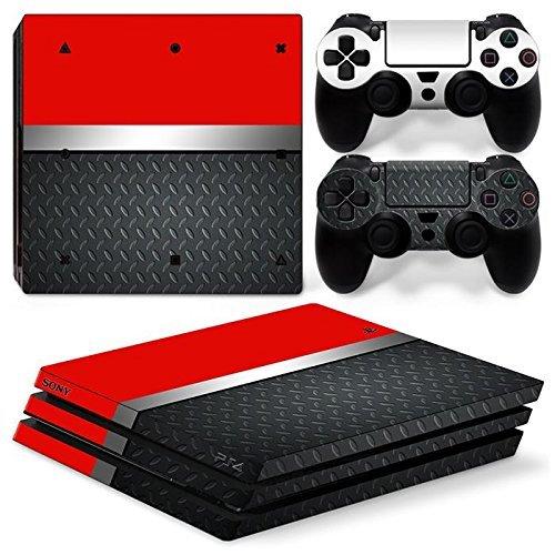 46 North Design Ps4 Pro Playstation 4 Pro Pegatinas De La Consola Red Metal + 2 Pegatinas Del Controlador