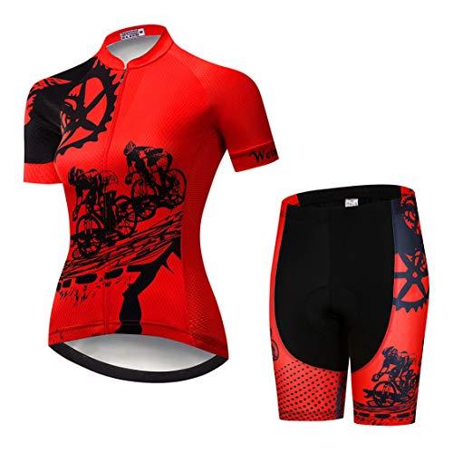 Weimostar Radtrikot-Shorts-Anzug Damen-Radtrikot-Sets Zip-Shirts Kurzarm MTB-Tops Rennrad-Fahrradbekleidung Sommerrennen für Damen Damen Schnelle trockene rote Sets Größe M