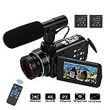 Video camera HD, Andoer 4K Ultra HD Palmare DV Videocamera professionale, 18X Digital Zoom Camera,...