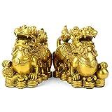 LINGS Feng Shui PiXiu Oro Puro Rame Ricchezza Prosperità Figurina Attirare Ricchezza E Buona Fortuna Migliore Decorazione per Ufficio O Casa (Una Coppia),L