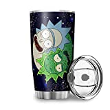 Zerosubsidi Morty and Rick 20 oz Tumbler 18/8 Stainless Steel Vacuum Insulated Coffee Mug with Lid Travel Thermoses Tumbler Cup White 30oz