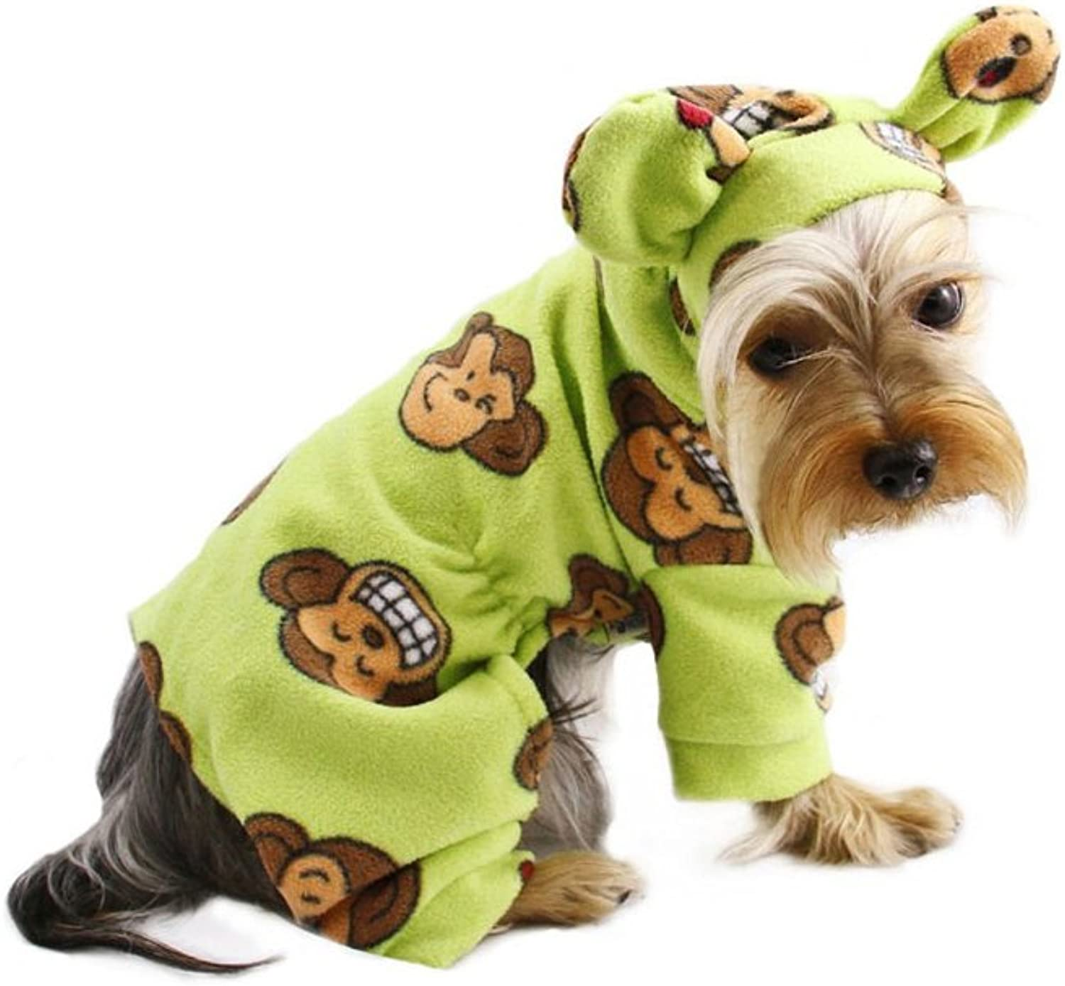 Adorable Silly Monkey Fleece Dog Pajamas   Bodysuit with Hood Size  Small, color  Lime