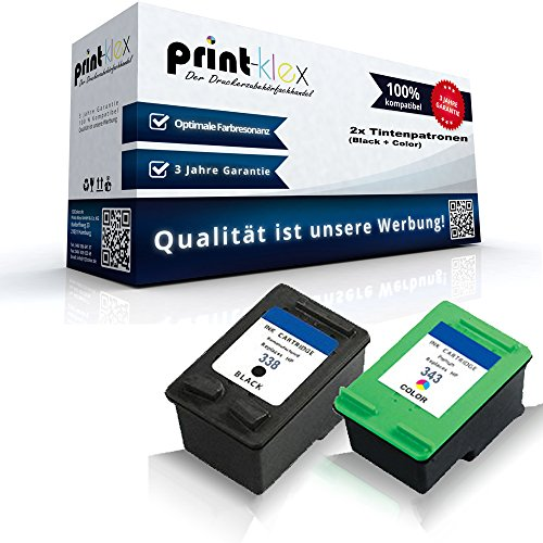 Juego de cartuchos de tinta compatibles para HP 338+ 343Photosmart 2700Series Photosmart 2710Photosmart 2710XI Photosmart 7800Series Photosmart 7850Photosmart 7850V HP 338+ HP 343