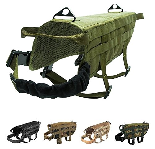 FDC Tactical Dog Vest Harness K9 MOLLE Hunting Military Hook and Loop Patch Panel XS, S, M, L, XL (Dark Green Olive, XL: Chest up to 36')