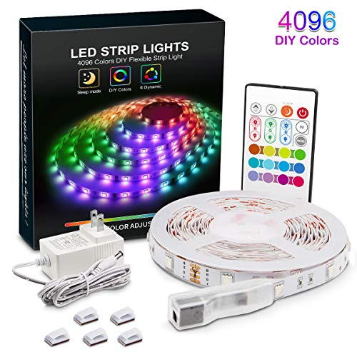YEEMAYLUX LED Strip Lights, 16.4ft/5m Upgraded RGB Led Strip,4096 DIY Colors, RGB Light Strip Kits with Remote,SMD 5050 LEDs, Color Changing Light Strips for Bedroom,Indoor Decorations for Home
