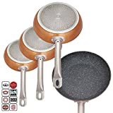 Deluxe Quality Professional Chef Set of 3 Non Stick Aluminium Copper Coated Frying