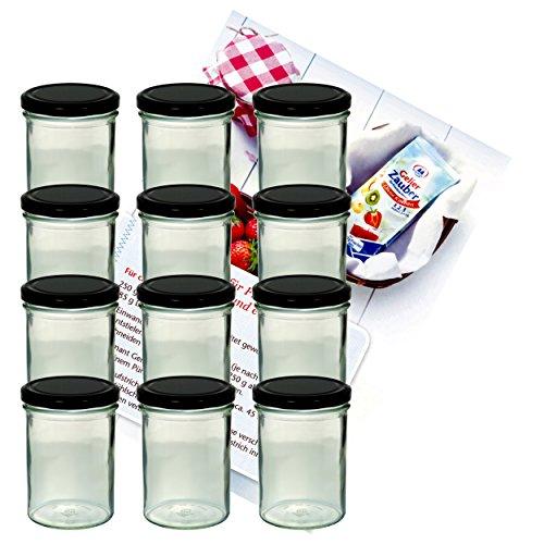 MamboCat 12er Set Sturzglas 435 ml Marmeladenglas Einmachglas Einweckglas to 82 schwarzer Deckel incl. Diamant-Zucker Gelierzauber Rezeptheft