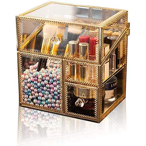 Handgemaakte Glazen Makeup Opbergdoos, Multifunctioneel Spiegelglas Make Borstelhouder Dressing Juwelendoos
