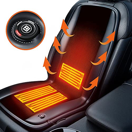 Car Seat Cushion,Warm Cushion for Winter, Premium Alcantara Comfortable Cover- Perfect to Keep Warm in Long Winter Driving (Black)