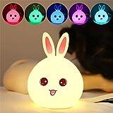 Enshey Multicolore Veilleuse Lapin LED, Mignon Lapin Enfants Lumière Nuit Silicone...