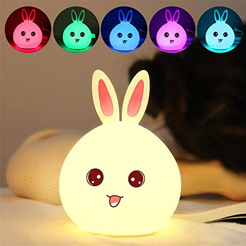 Enshey Multicolore Veilleuse Lapin LED, Mignon...