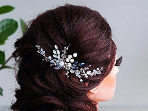 kercisbeauty Hochzeit Braut Brautjungfern Blume Mädchen blau und grau Kristall Perlen Langes Haar Kamm Haarband Brautschmuck Haarkamm Haarschmuck Lange Gelockt Bun Hair Zubehör, Hochzeit