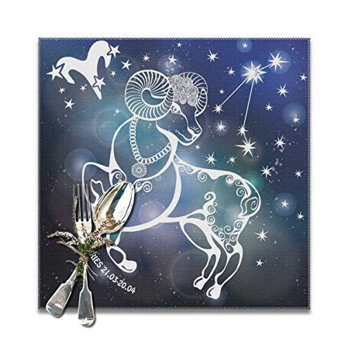 Rterss Ram Dierenriem Teken Horoscoop Constellatie Placemats Wasbaar Zacht En Vouw Gratis Tafelmatten Set Van 12x12 In (6 Stks) Aangepast