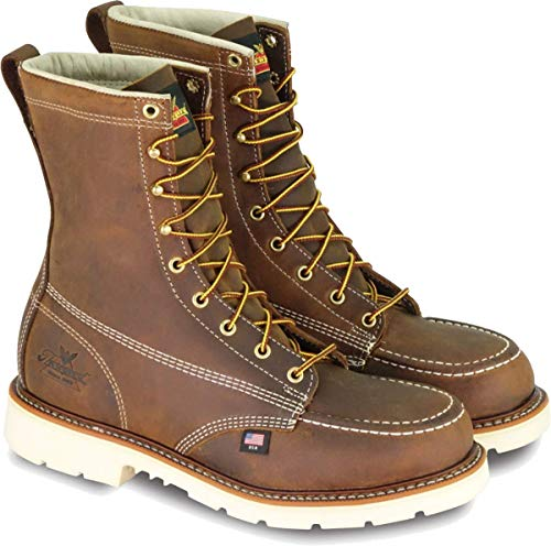 Thorogood 804-4378 Men's American Heritage 8' Moc Toe, MAXWear 90 Safety Toe Boot, Trail Crazyhorse - 10 D(M) US