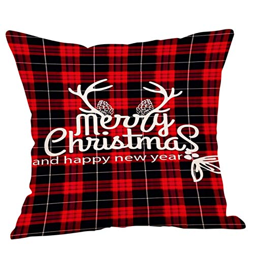 PPTS Christmas pillow case cushion cover red plaid theme sofa chair decoration cover 45 * 45cm