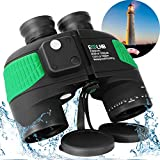 ESSLNB Marine Binoculars with Illuminated Compass Rangefinder 7X50 IPX7 100% Waterproof Military Binoculars for Adults Kids BAK4 FMC Floating Binoculars for Boating Hunting w/Bag and Floating Strap